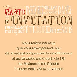 Carte d'invitation mariage Jeu de mots chocolat pas cher