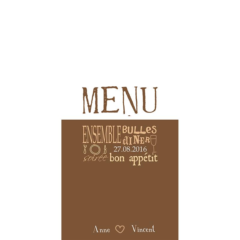 Menu mariage Jeu de mots chocolat pas cher