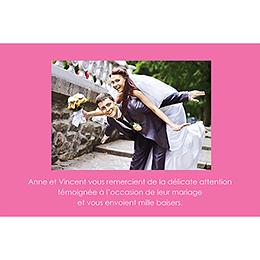 Carte de remerciement mariage Jeu de mots rose gratuit
