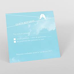 Carton réponse mariage Bleu ciel