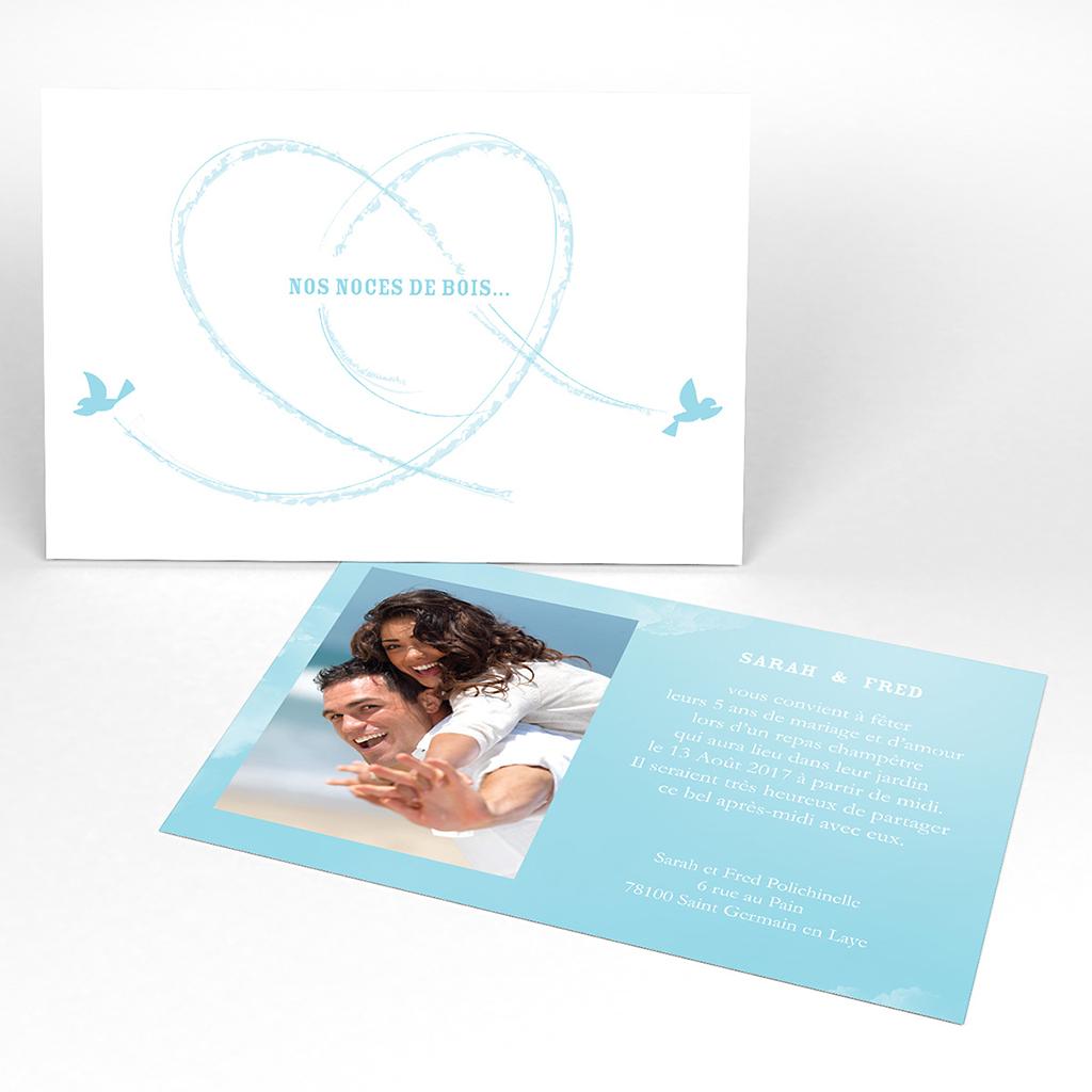 Carte anniversaire de mariage Bleu ciel