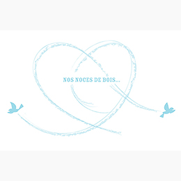 Carte anniversaire de mariage Bleu ciel  pas cher