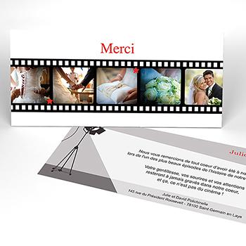 Carte de remerciement mariage Cinéma