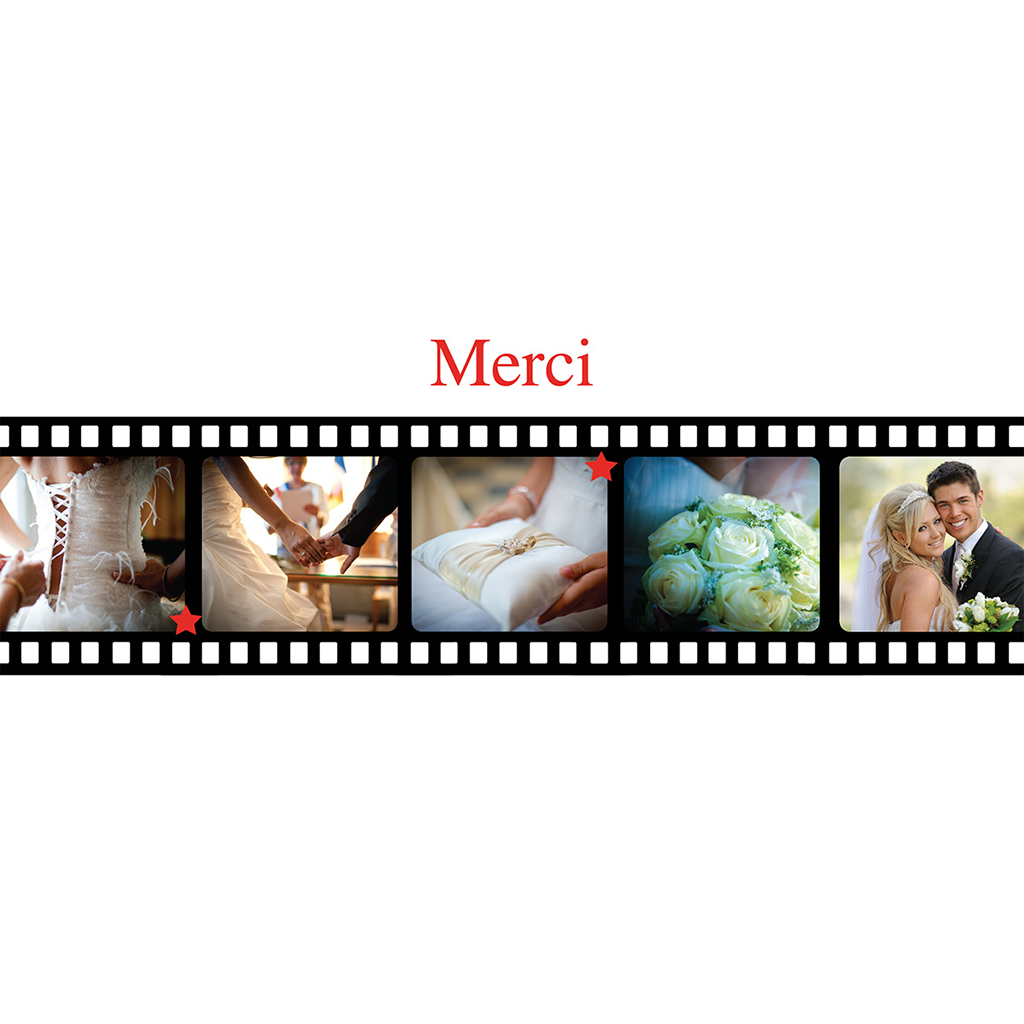 Carte de remerciement mariage Cinéma  pas cher