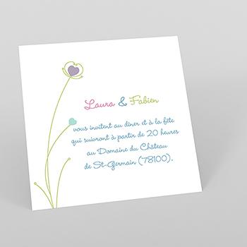 Carte d'invitation mariage Idylle blanc