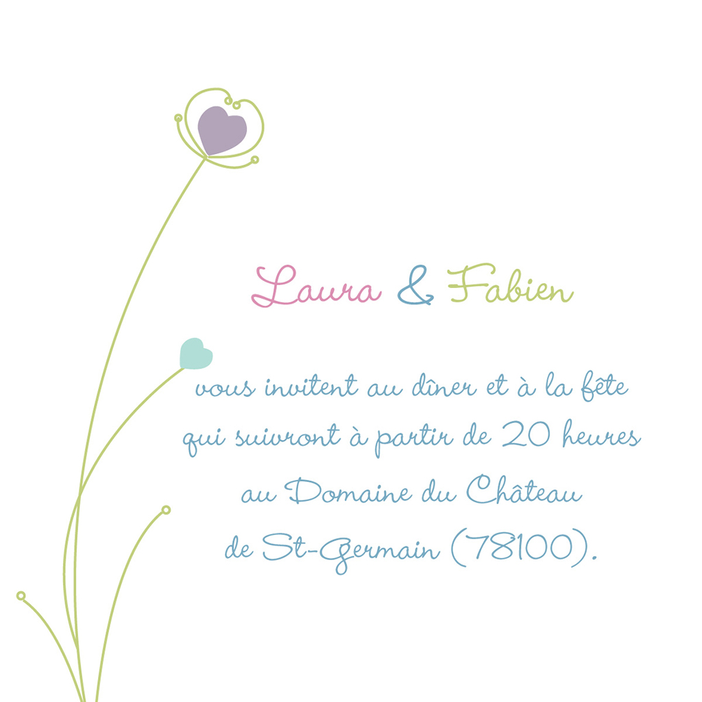 Carte d'invitation mariage Idylle blanc pas cher