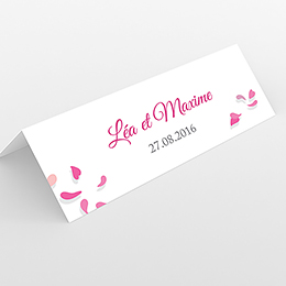 Marque-place mariage Pétales rose
