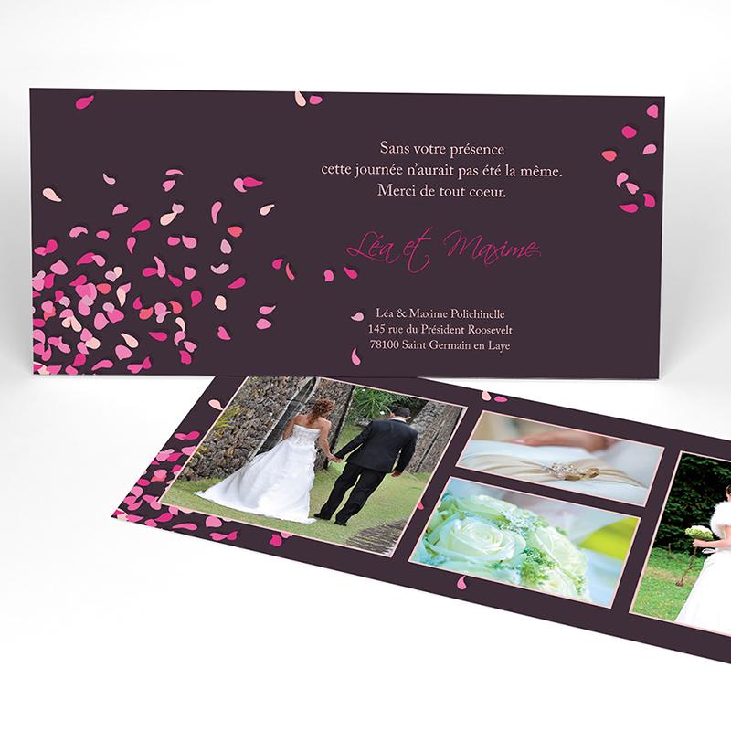 Carte de remerciement mariage Pétales violine