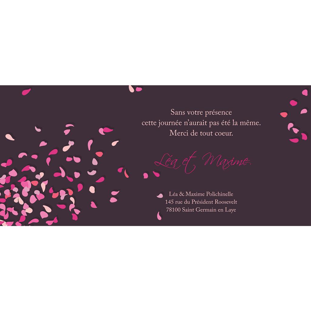 Carte de remerciement mariage Pétales violine pas cher