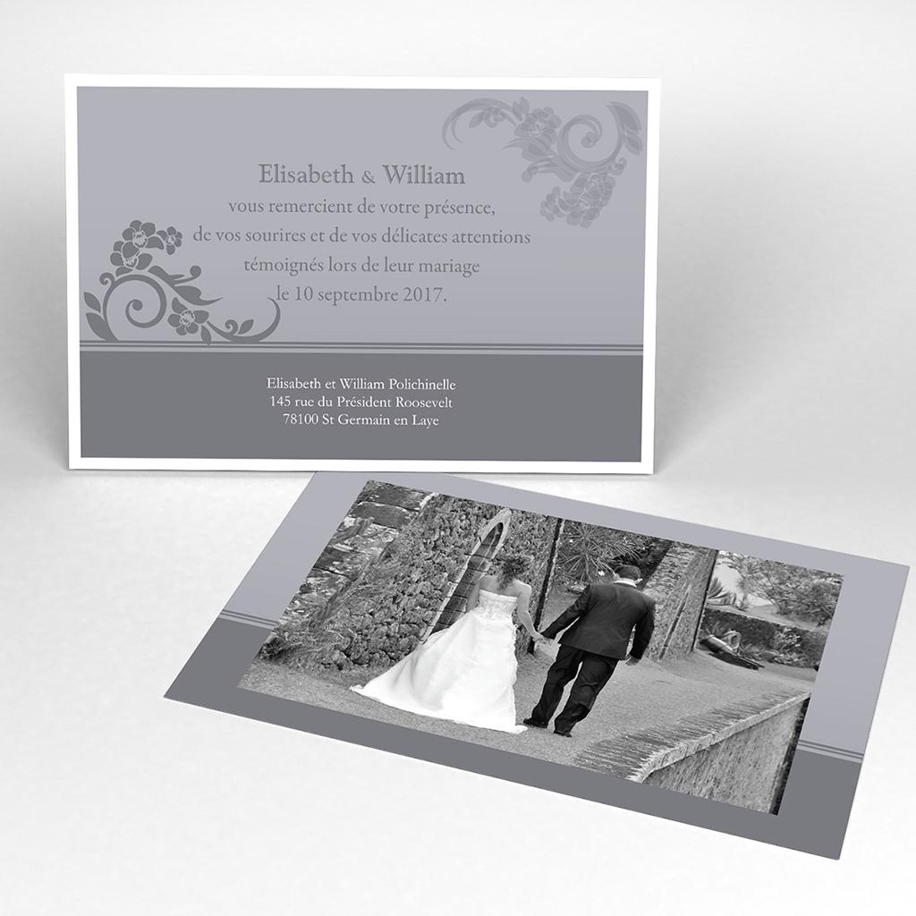 Carte de remerciement mariage Cérémonie gris