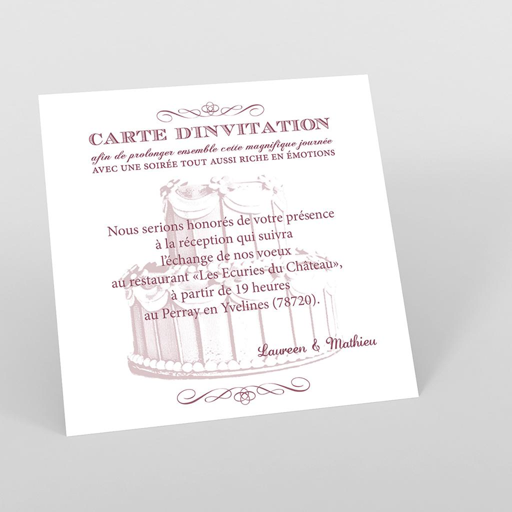 Carte d'invitation mariage Wedding cake bordeaux