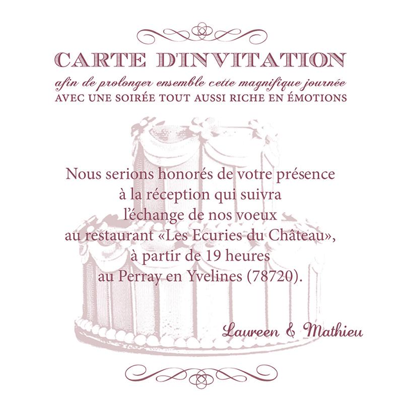 Carte d'invitation mariage Wedding cake bordeaux pas cher