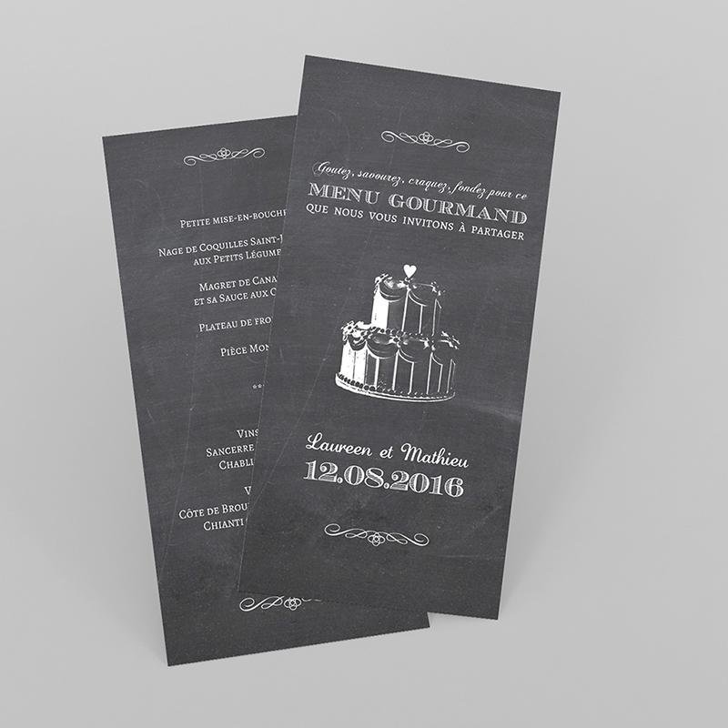 Menu mariage Wedding cake ardoise