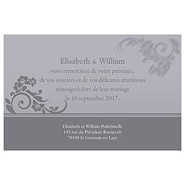 Carte de remerciement mariage Cérémonie gris pas cher