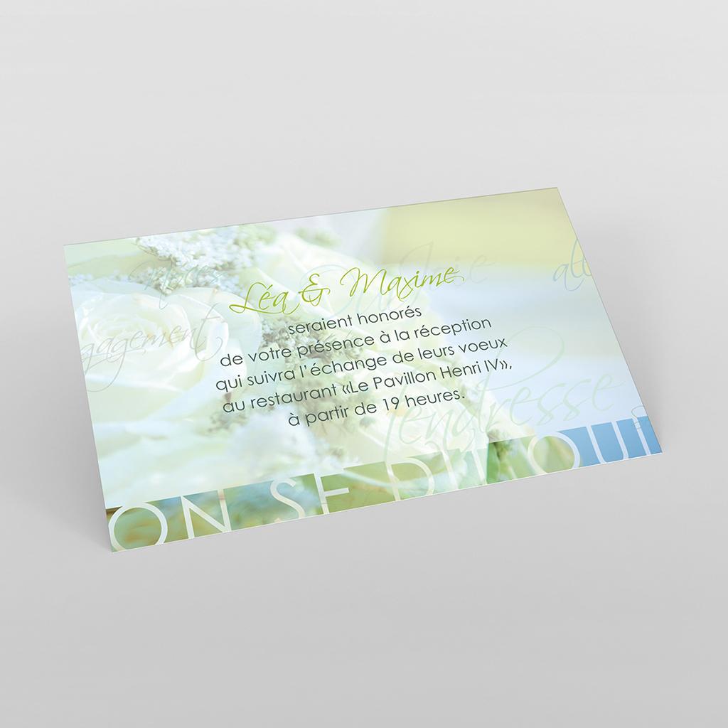 Carte d'invitation mariage Florilège vert
