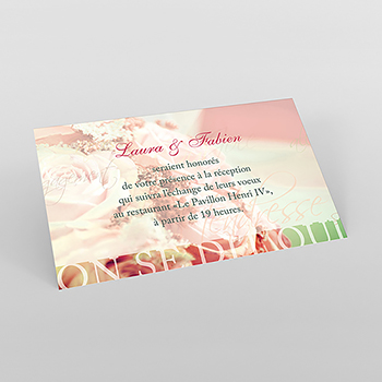 Carte d'invitation mariage Florilège rose