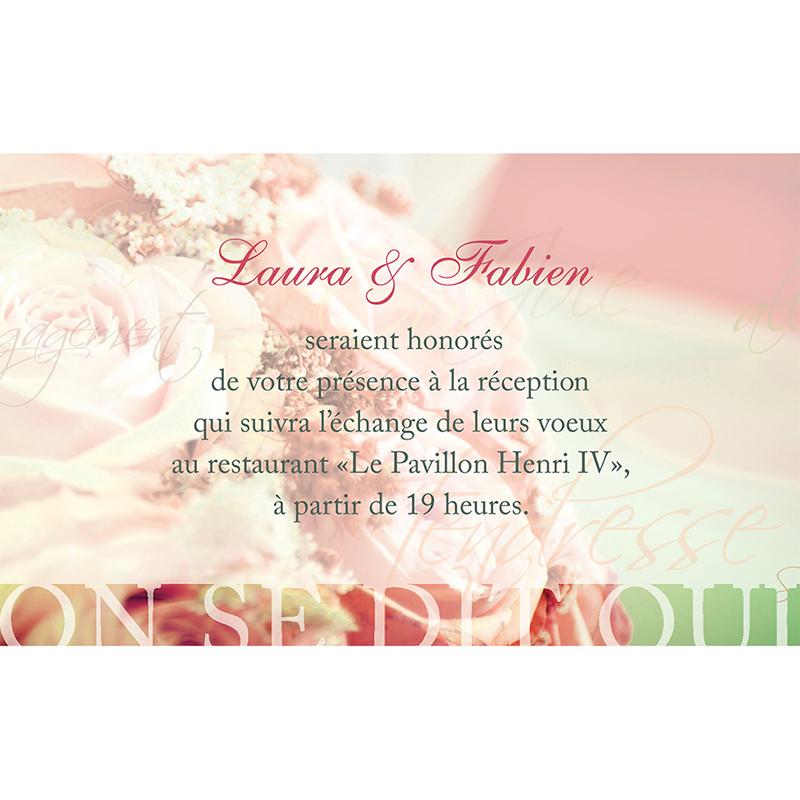 Carte d'invitation mariage Florilège rose  pas cher