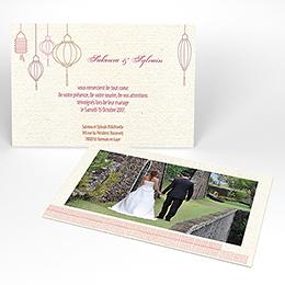 Carte de remerciement mariage Les lampions