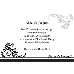 Carte anniversaire de mariage Cérémonie noir pas cher