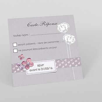 Carton réponse mariage Scrap'mauve
