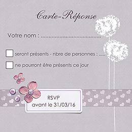 Carton réponse mariage Scrap'mauve  pas cher