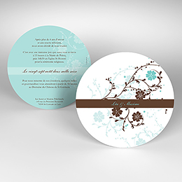Faire-part de mariage Nuptial rond chocolat turquoise