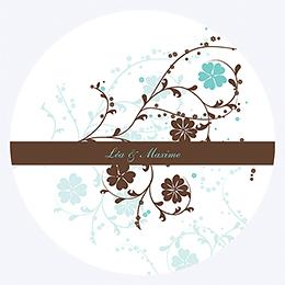 Faire-part de mariage Nuptial rond chocolat turquoise pas cher