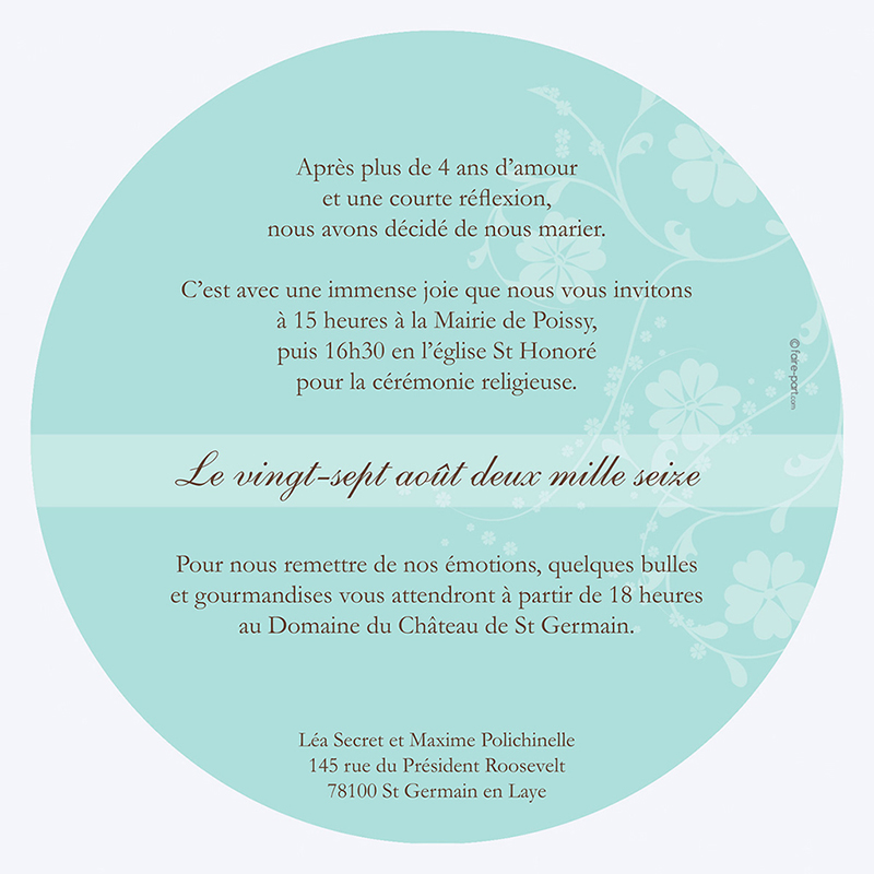 Faire-part de mariage Nuptial rond chocolat turquoise gratuit