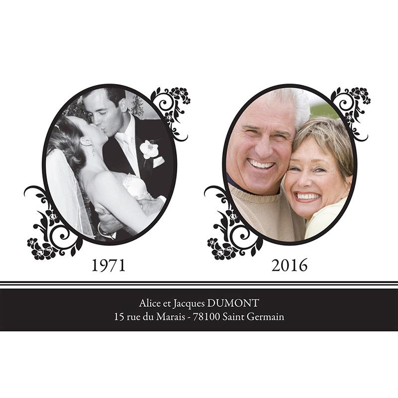Carte anniversaire de mariage Cérémonie noir gratuit