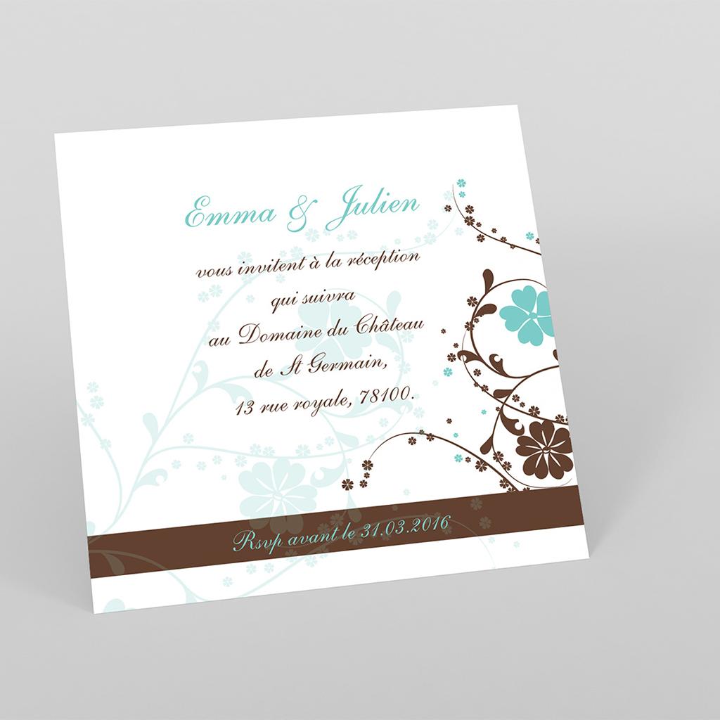 Carte d'invitation mariage Nuptial rond chocolat turquoise