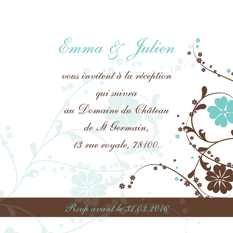 Carte d'invitation mariage Nuptial rond chocolat turquoise pas cher