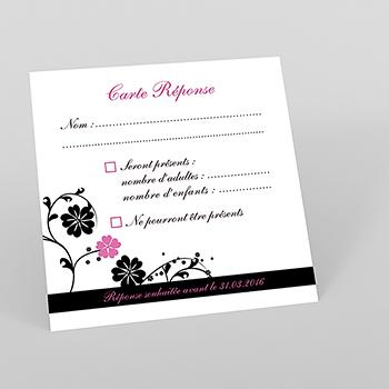 Carton réponse mariage Nuptial rond noir rose