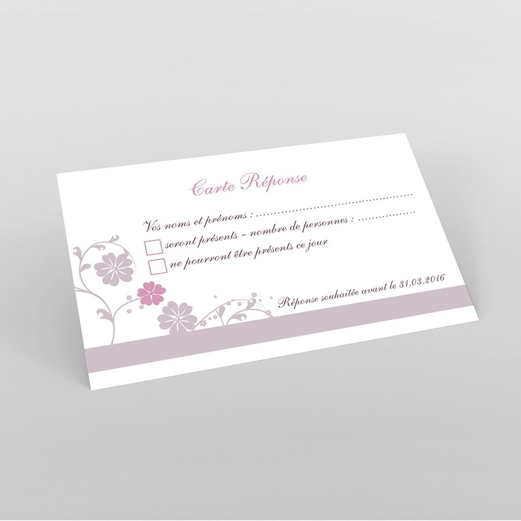 Carton réponse mariage Nuptial gris rose