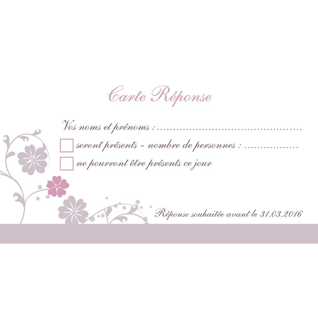 Carton réponse mariage Nuptial gris rose pas cher