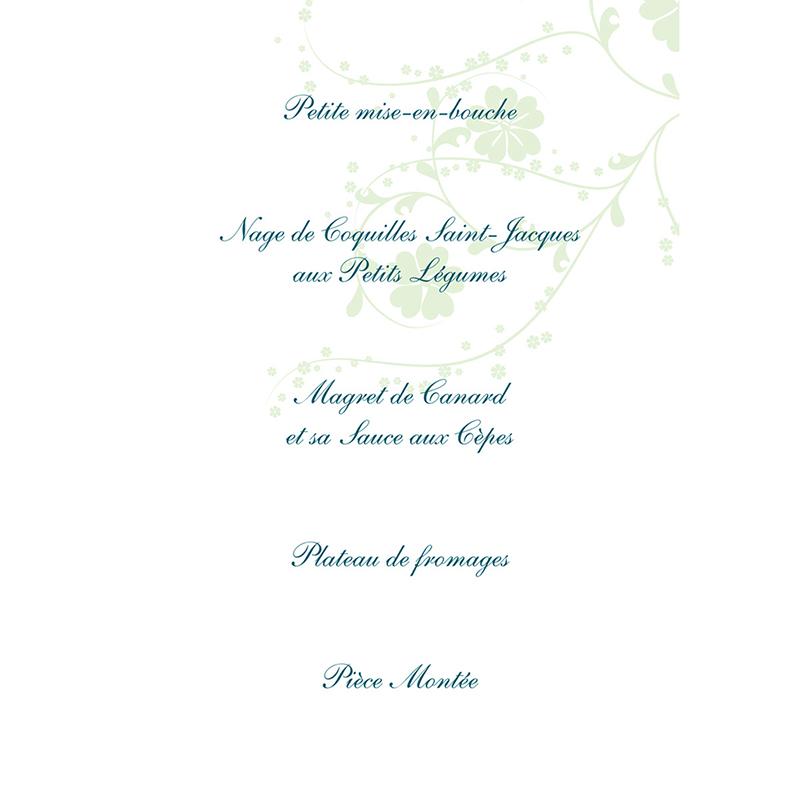 Menu mariage Nuptial bleu