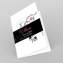 Menu mariage Nuptial rond noir rose