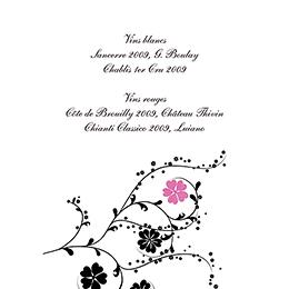 Menu mariage Nuptial rond noir rose gratuit