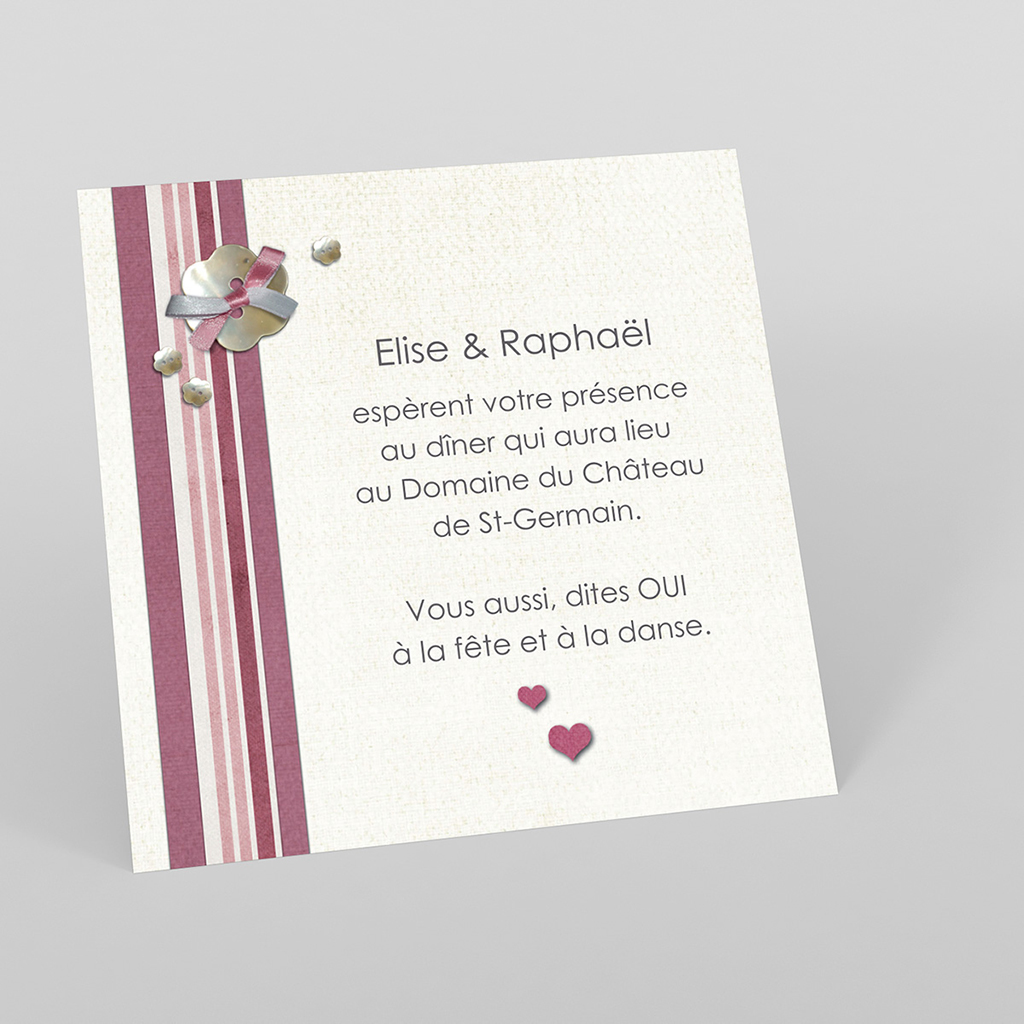 Carte d'invitation mariage Scrap'rose