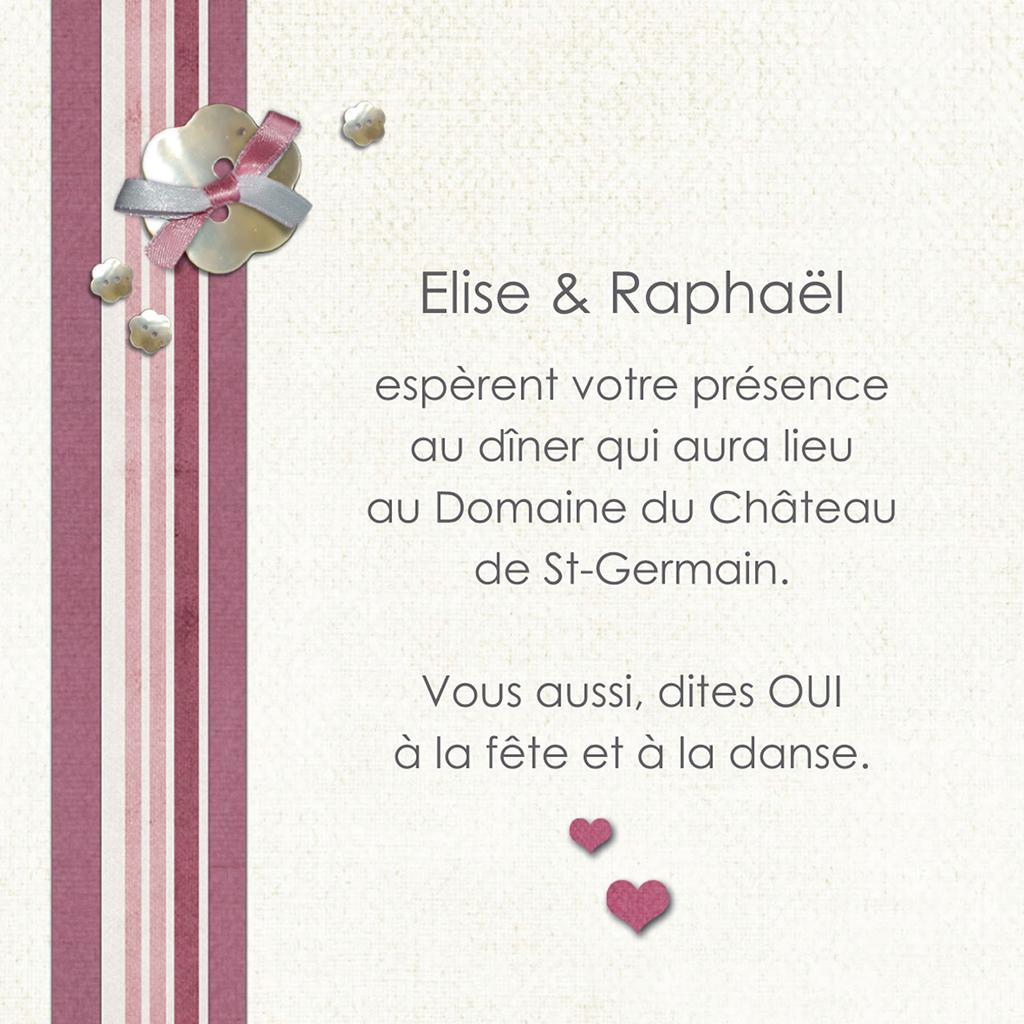 Carte d'invitation mariage Scrap'rose  pas cher