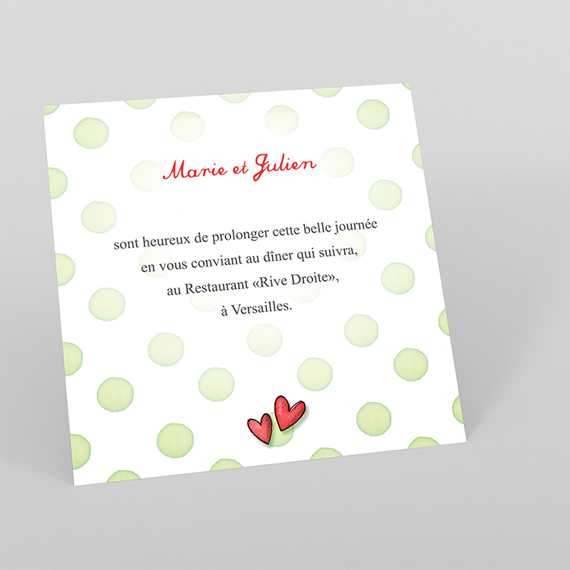 Carte d'invitation mariage Bol d'amour
