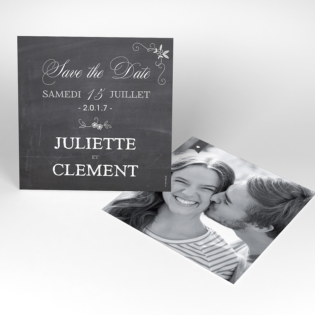 Save-the-date mariage Ardoise