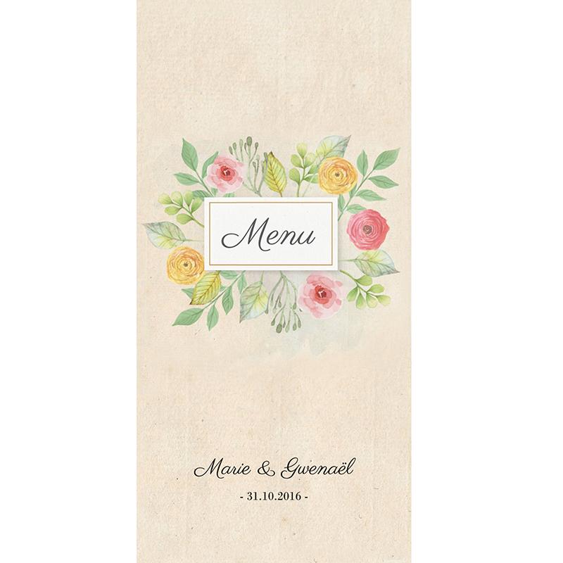 Menu mariage Fleurs Vintage pas cher