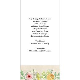 Menu mariage Fleurs Vintage gratuit