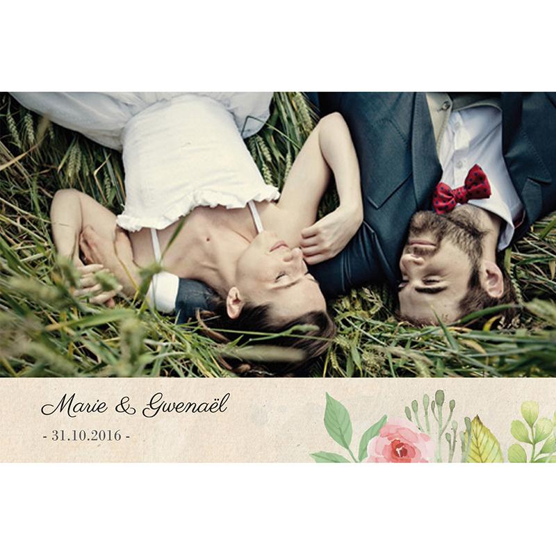 Carte de remerciement mariage Fleurs Vintage pas cher