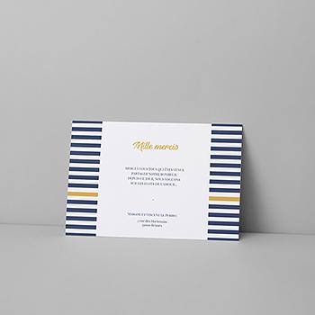 Carte de remerciement mariage Ancre Marine Bleu Moutarde