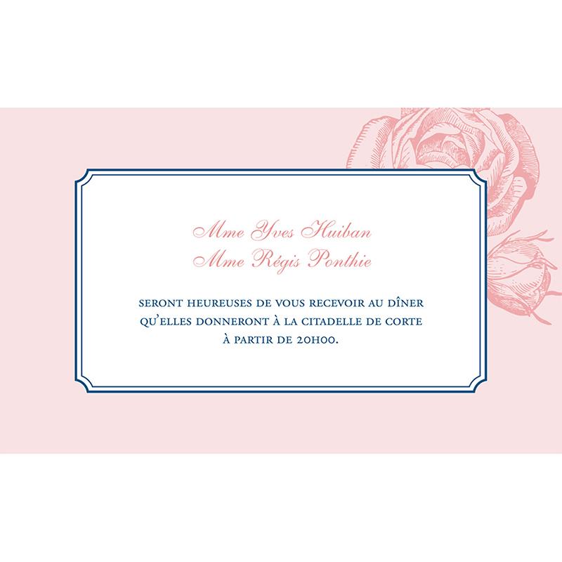 Carte d'invitation mariage Rose et Bleu pas cher