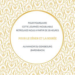 Carte d'invitation mariage Rococo graphique pas cher