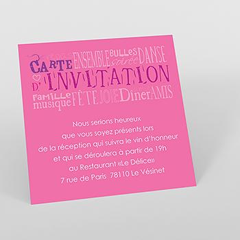Carte d'invitation mariage Jeu de mots rose