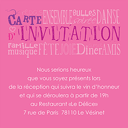 Carte d'invitation mariage Jeu de mots rose pas cher