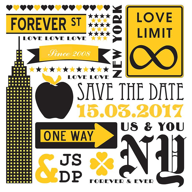 Faire-part de mariage New york jaune  pas cher